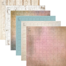 12X12- 24 Dockside Grid Paper (Pack of 24 sheets - 4 each of 6 colors)