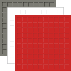 12X12 PEWTER, WHITE, & SCARLET GRID PAPER- 6 Sheets (2 sheets of each color)