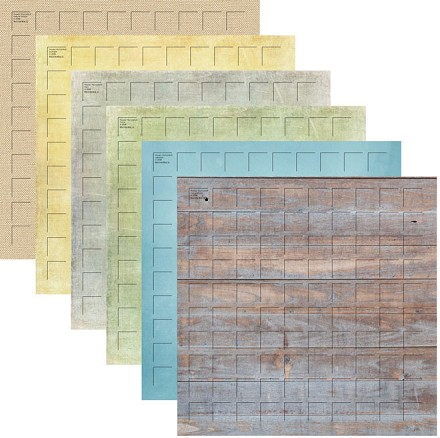 12X12-24 Lazy Days Grid Paper (Pack of 24 sheets - 4 each of 6 colors)