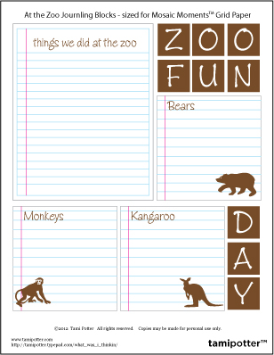 FREE DOWNLOAD for Mosaic Moments Grid - Zoo Journaling Blocks