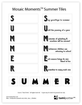 Tami Potter Free PDF download Mosaci Moments SUMMER