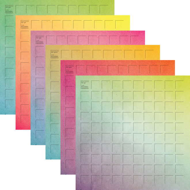 12X12-12 Ombre Grid Paper (Pack of 12 sheets - 2 each of 6 colors)