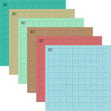 12X12-12 Nantucket Grid Paper (2 each of 6 colors)