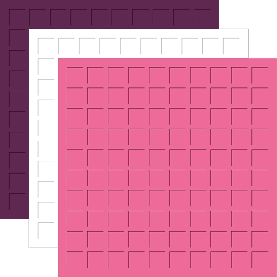 12X12 ROYAL PURPLE, WHITE, CYCLAMEN PINK GRID PAPER-6 Sheets (2 sheets of each color)