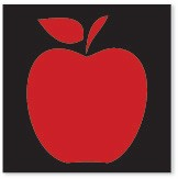 Apple Cornerstone- Black on Red Background