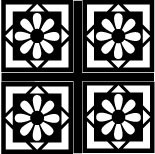 Mini Daisy Four Square Cornerstones - Black