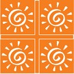 Mini Sun Four Square Cornerstones - Orange